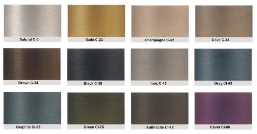 Palette couleurs anodisation odyssee lumiere export - Couleur de l aluminium ...